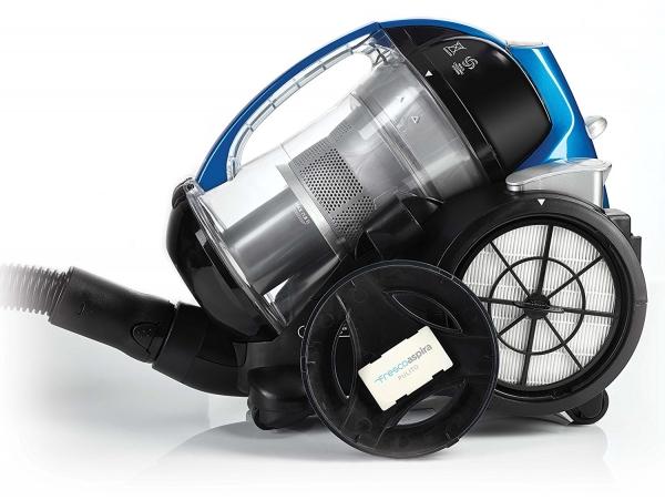 Aspirator Fara Sac Polti Forzaspira MC 350 Turbo & Fresh, 1.8 l, 700 W, Filtru HEPA, Clasa A , Negru/Albastru