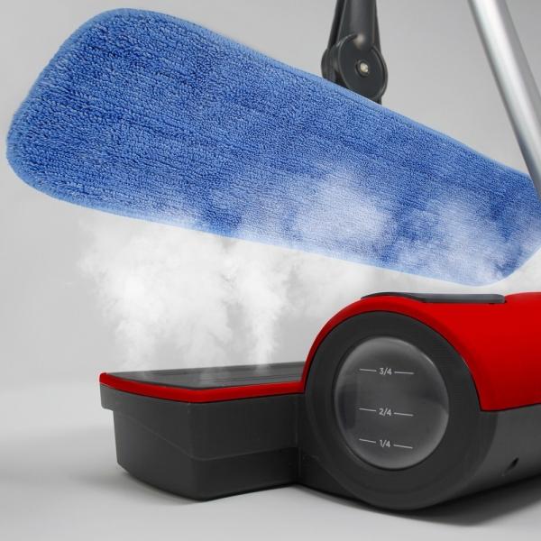 Mop cu Abur fara Fir Polti Moppy + Set Lavete Premium E-Cloth din Microfibra, Editie Speciala, Alb