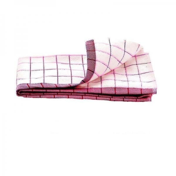 Prosop Premium E-Cloth de Bucatarie pentru Pahare, Farfurii de Portelan, Tacamuri, 60 x 40 cm, Alb/Rosu