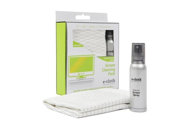 Set Laveta Premium E-Cloth + Spray Apa Deionizata pentru Curatarea Ecranelor, Plasma, LCD, LED, TV si Computer, Tableta